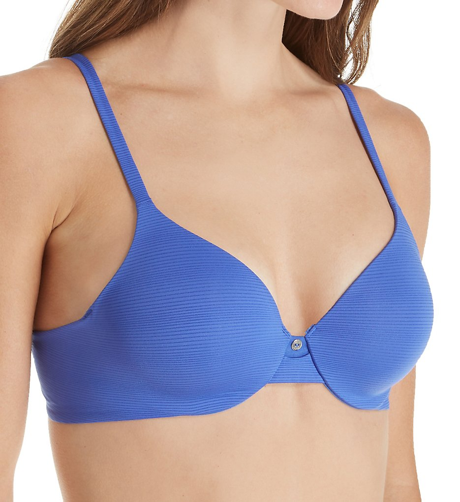 Hanes HU02 Ultimate T-Shirt Soft Contour Underwire Bra (Stripe Steel Blue)