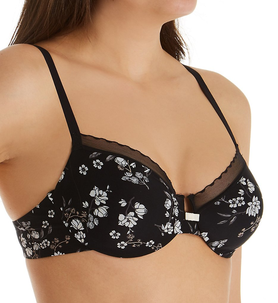 Hanes HU30 Silky Smooth Comfort Unlined Underwire Bra (Black Floral)