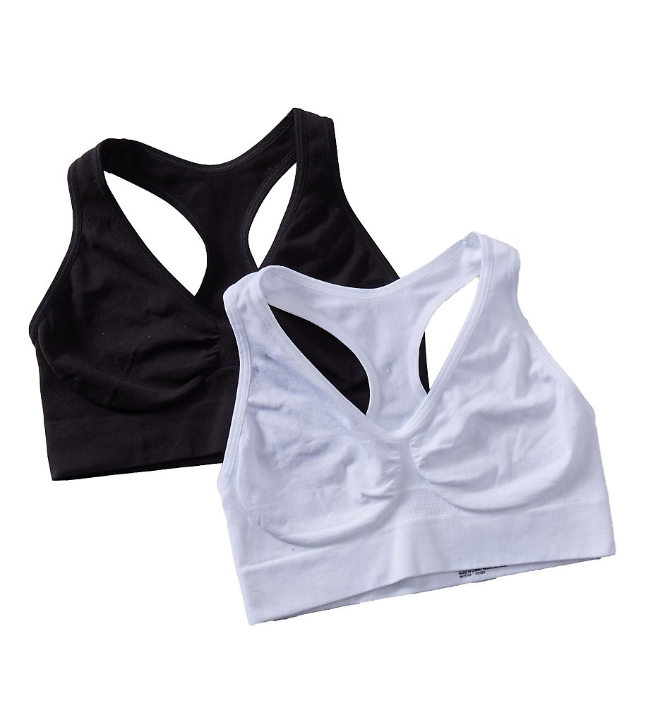 Hanes : Hanes HUT1 Comfy Support Racerback Wirefree Bra - 2 Pack (White/Black S)