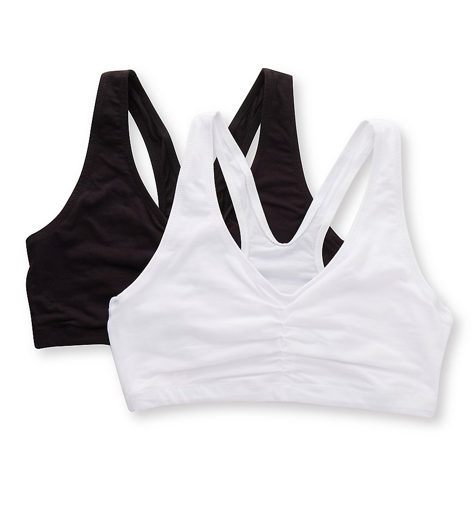 Hanes - Hanes MHH570 ComfortBlend with X-Temp Pullover Bra - 2 Pack (White/Black S)
