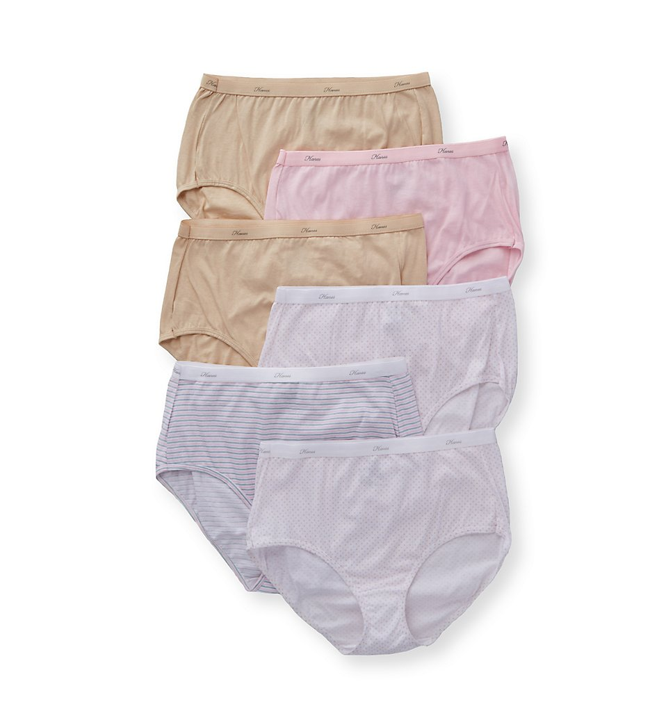 Hanes - Hanes PP40BA Cotton Cool Comfort Brief Panty - 6 Pack (Pink/White/Stripe/Dot 6)