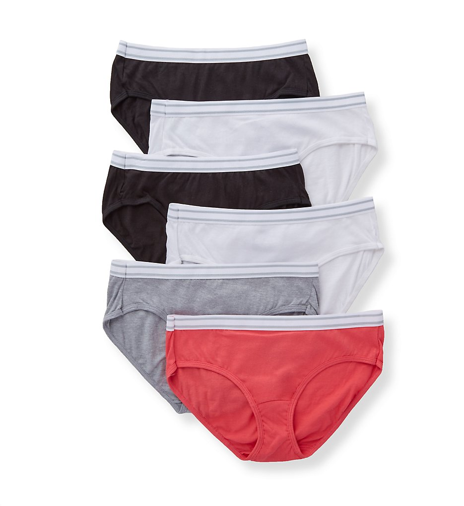 Hanes - Hanes PP41SF Cotton Cool Comfort Sporty Hipster Panty - 6 Pack (White/Black/Peach/Grey 5)