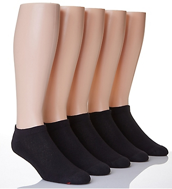 Hanes X-Temp Comfort Cool Black No Show Socks - 5 Pack