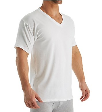 Hanes Stretch V Neck T-Shirts - 4 Pack