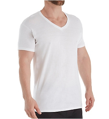Hanes Ultimate ComfortFit White V-Neck - 4 Pack
