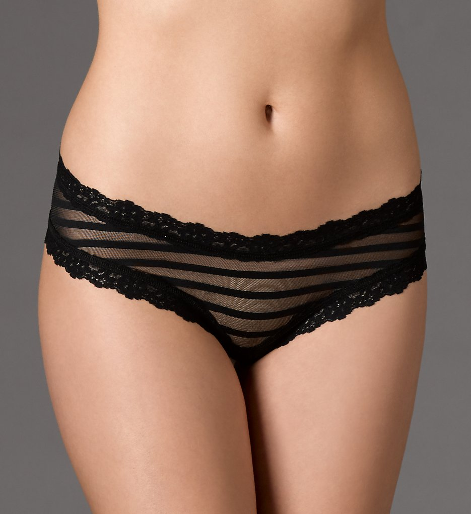 Hanky Panky - Hanky Panky 1H2924 After Midnight Shadow Stripe Open Hipster Panty (Black L)
