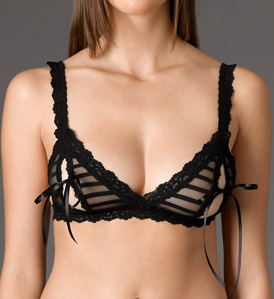 Hanky Panky : Hanky Panky 1H7834 After Midnight Shadow Stripe Peek-A-Boo Bralette (Black L)