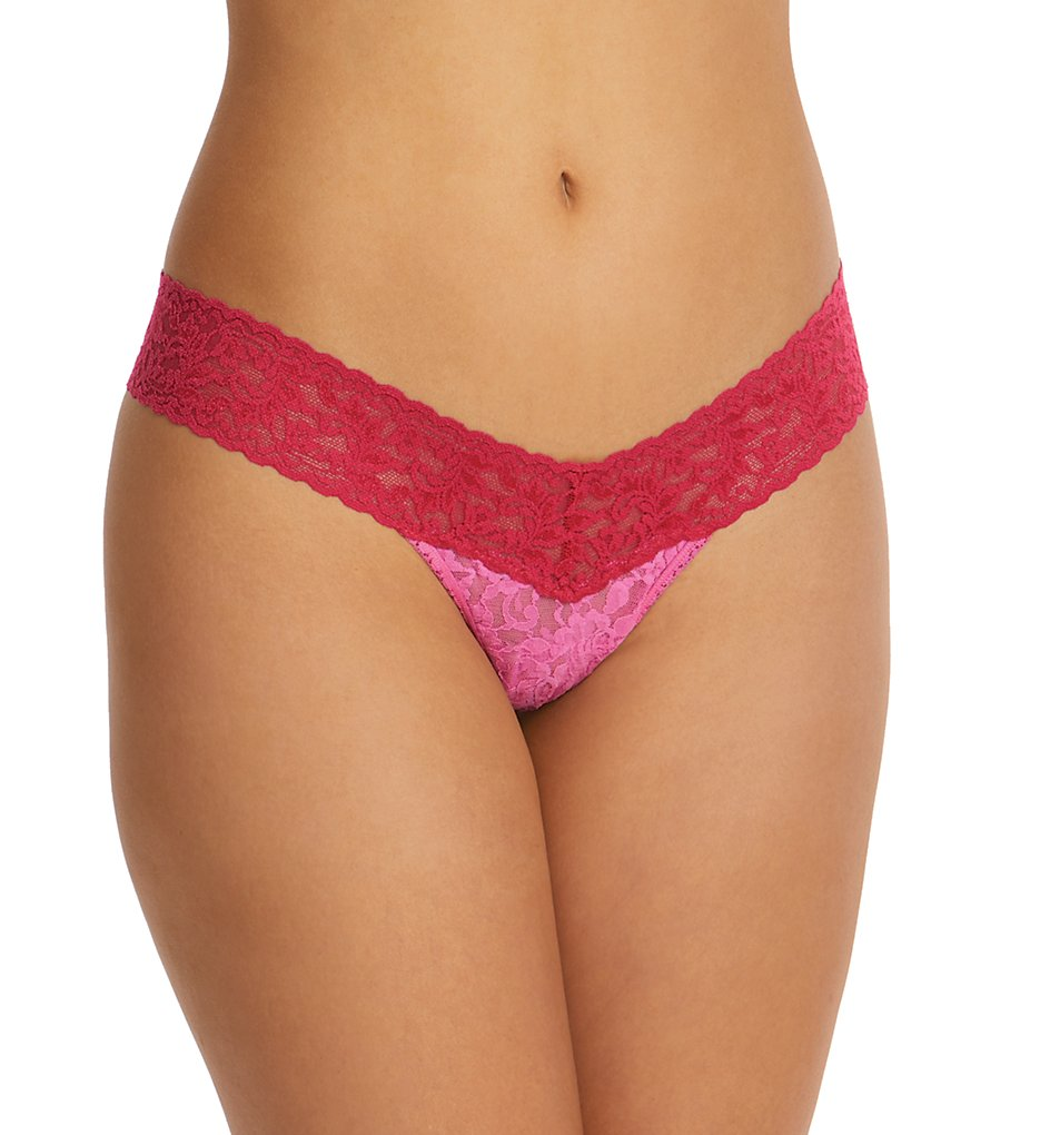 Hanky Panky - Hanky Panky 3510 Signature Lace Colorplay Low Rise Thong (Raspberry Ice/Pink O/S)