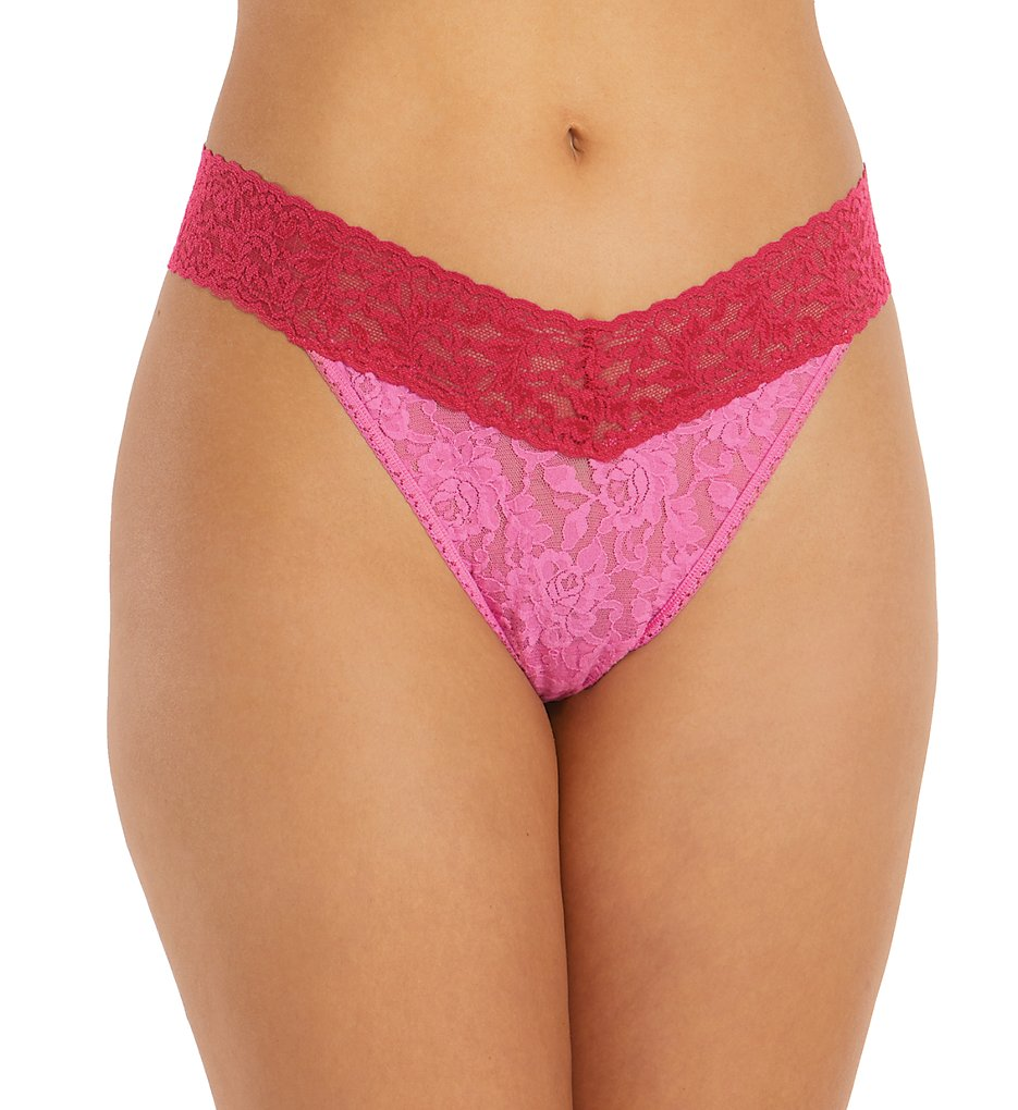 Hanky Panky - Hanky Panky 3511 Signature Lace Colorplay Original Rise Thong (Raspberry Ice/Pink O/S)