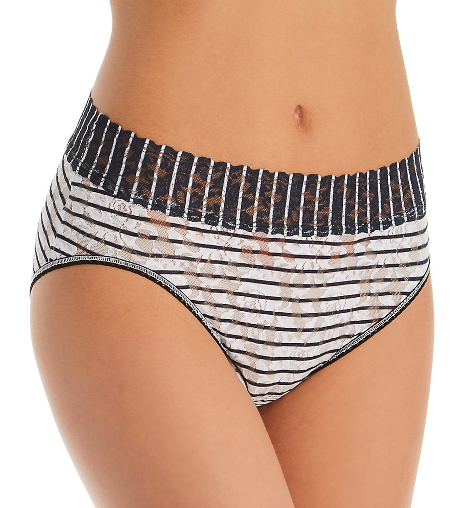 Hanky Panky (2310470): Hanky Panky 461PTN Signature Lace Pattern French Brief Panty (White/Black Stripe M)