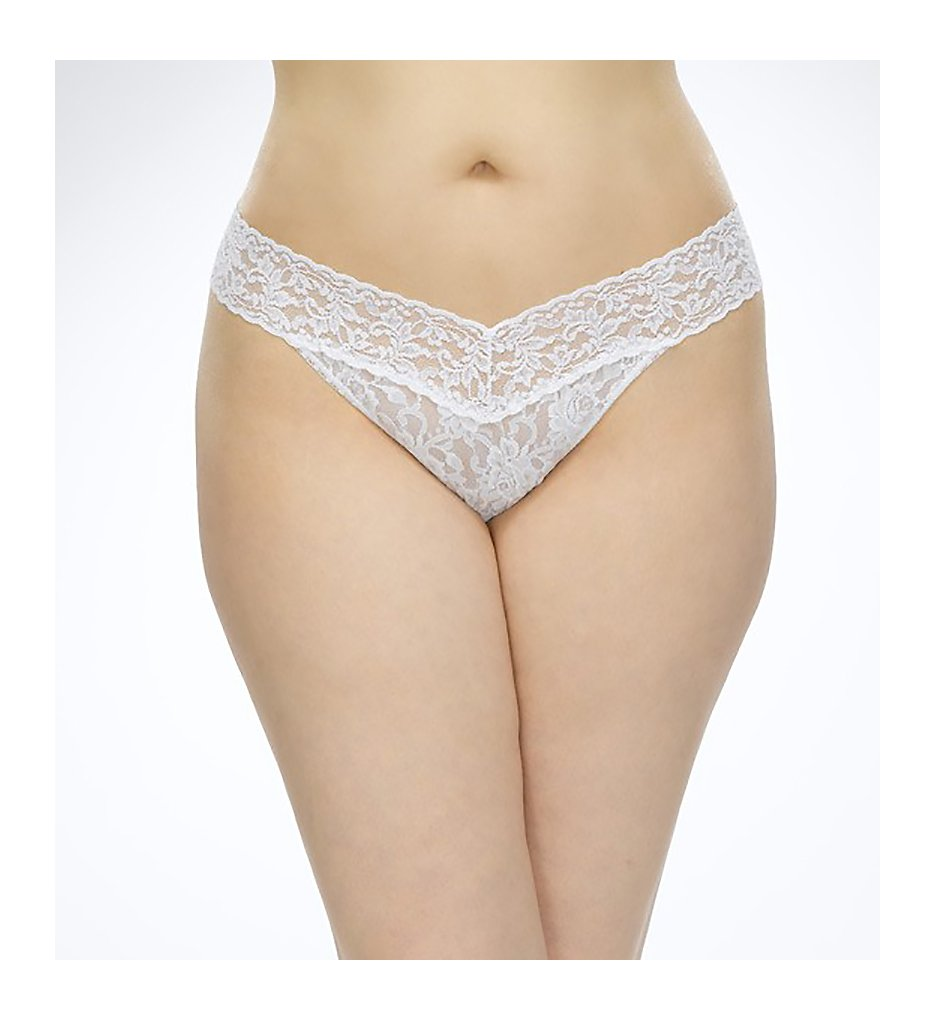 Hanky Panky : Hanky Panky 4811X Signature Lace Plus Size Thong (White O/S Plus)