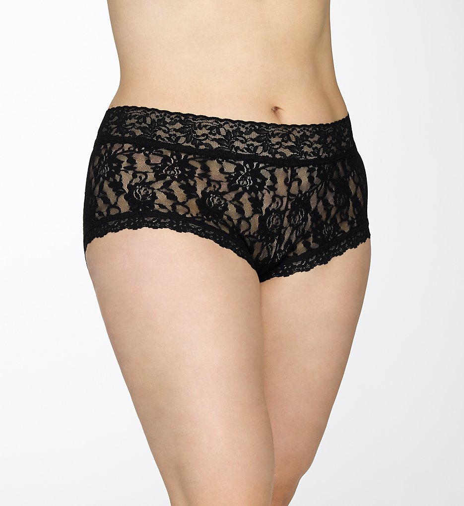Hanky Panky : Hanky Panky 481281X Signature Lace Plus Wide Band Boyshort Panty (Black 1X)