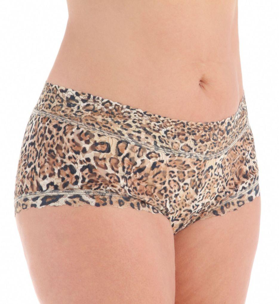 Hanky Panky Leopard Nouveau Plus Wide Band Boyshort Panty