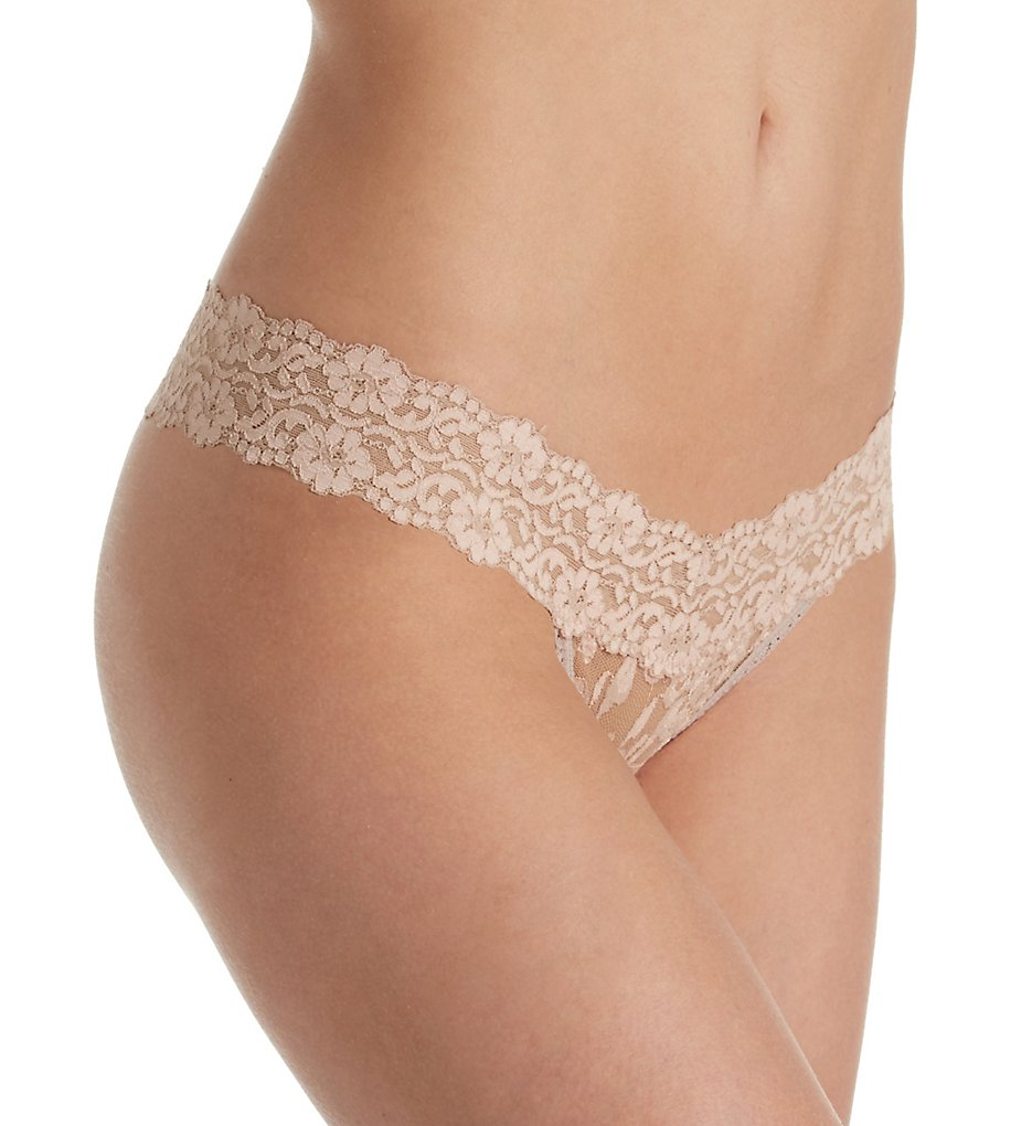 Hanky Panky - Hanky Panky 591054 Cross Dyed Signature Lace Low Rise Thong (Taupe-Vanilla O/S)