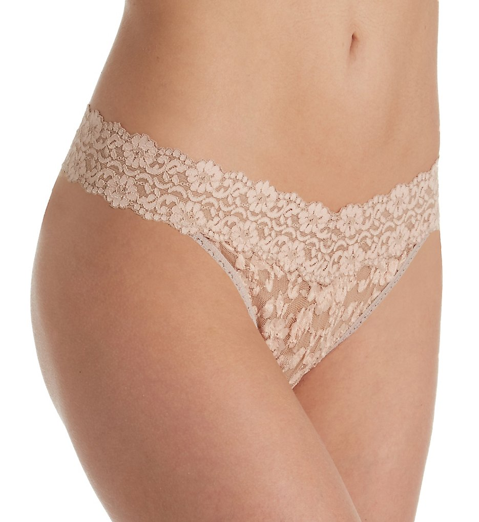 Hanky Panky - Hanky Panky 591104 Cross Dyed Signature Lace Original Rise Thong (Taupe-Vanilla O/S)
