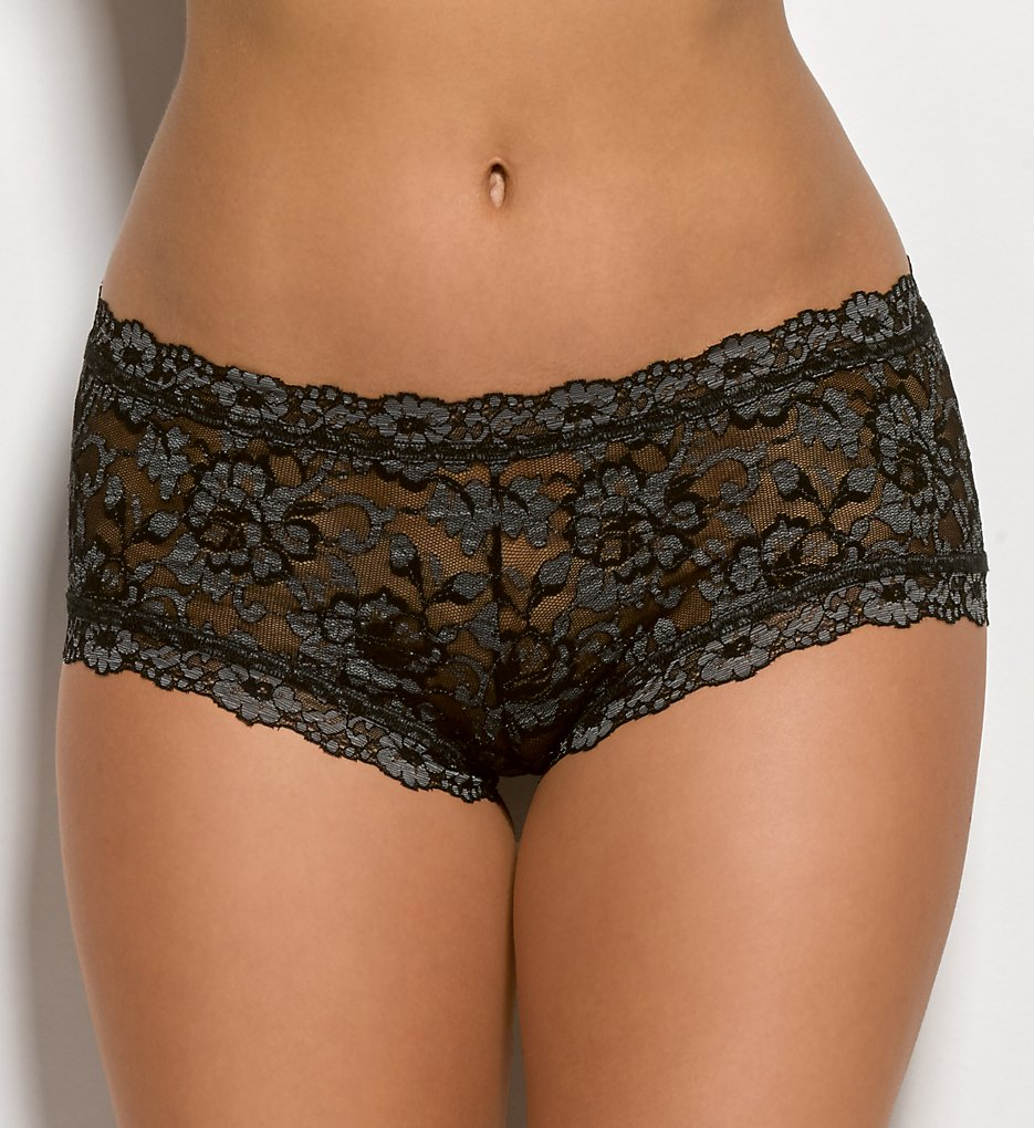 Hanky Panky : Hanky Panky 591204 Cross Dyed Signature Lace Boyshort Panty (Black Heather L)