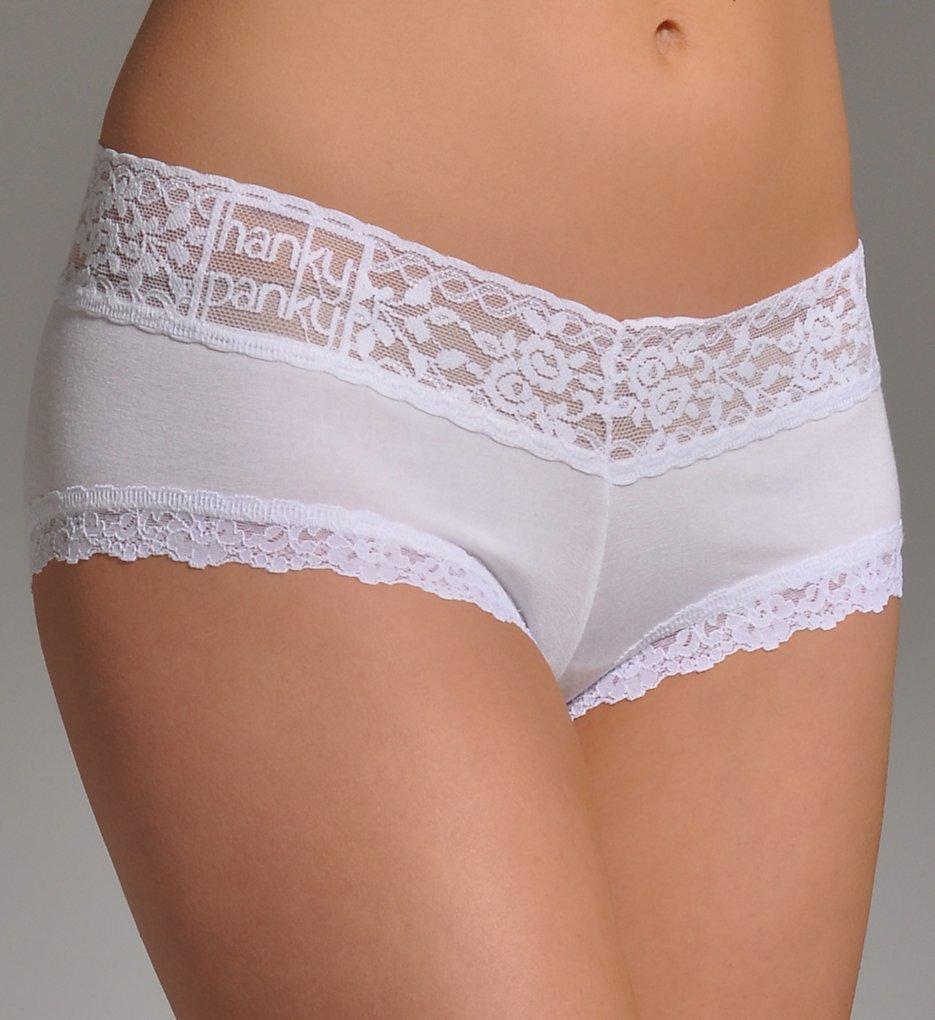 Hanky Panky - Hanky Panky 632151 Logo To Go Modal Boyshort Panty (White XS)