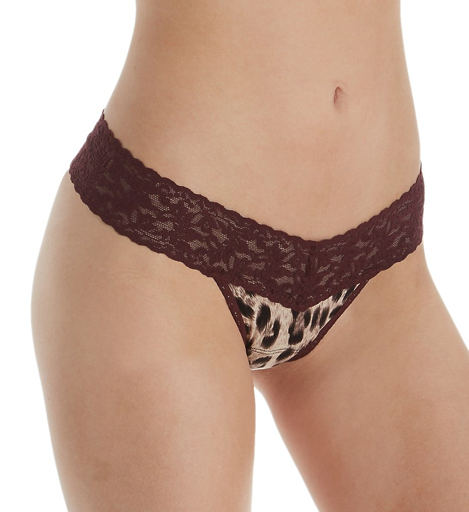 Hanky Panky >> Hanky Panky 633405 Printed Modal Mid Rise Thong (Brown Leopard O/S)