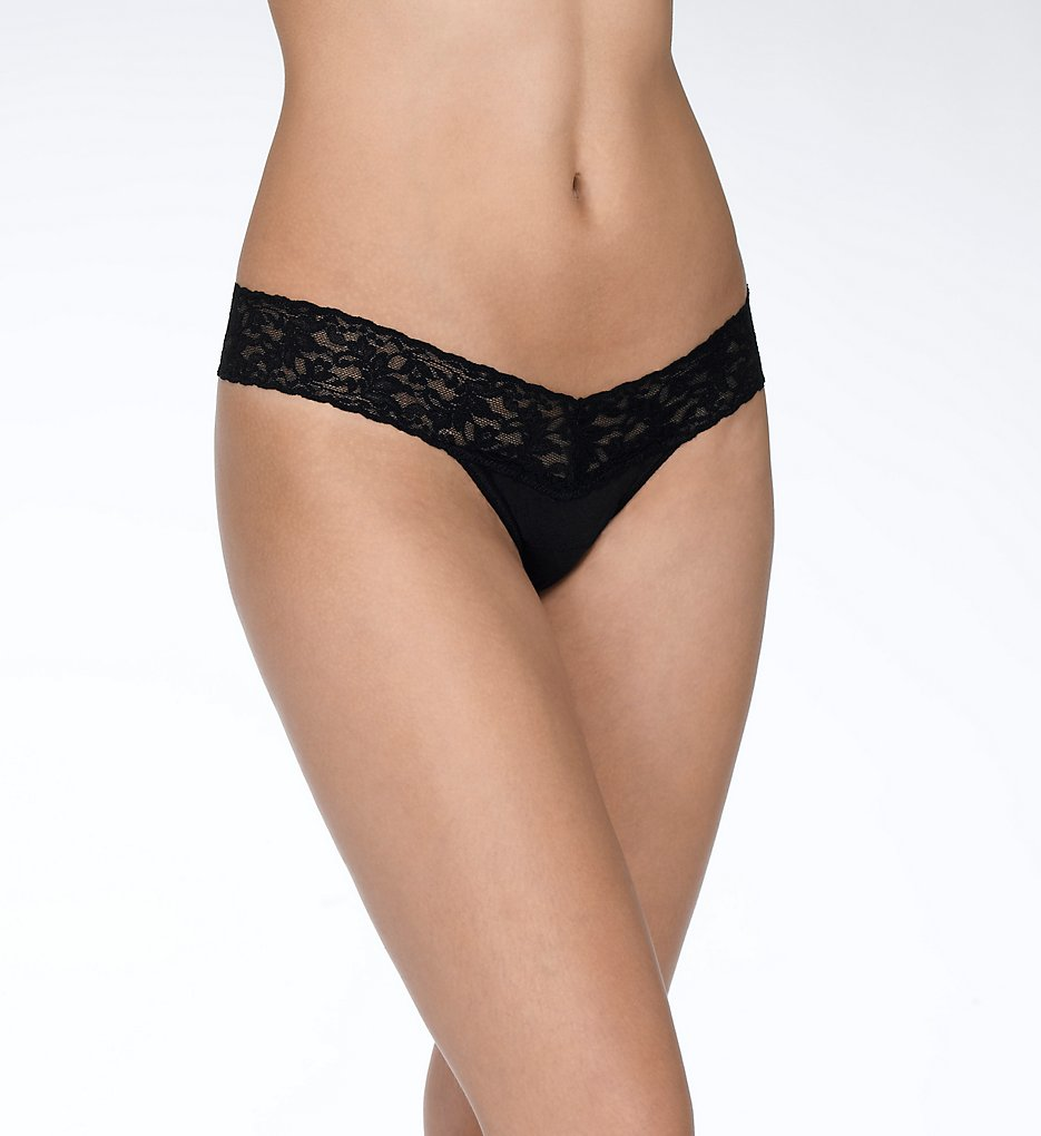 Hanky Panky - Hanky Panky 891581 Organic Cotton Low Rise Thong (Black O/S)