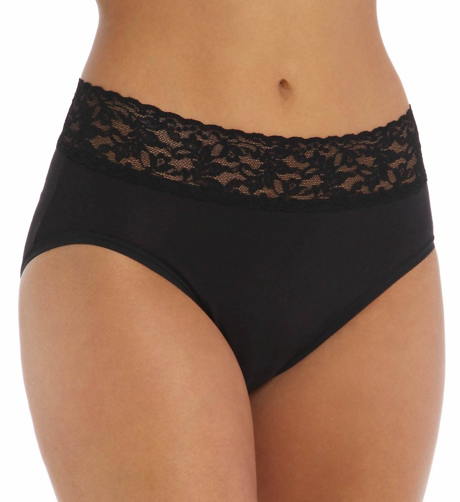 Hanky Panky - Hanky Panky 892461 Organic Cotton French Brief Panty (Black L)