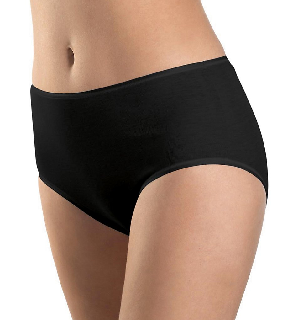 Hanro - Hanro 1625 Cotton Seamless Full Brief Panty (Black XS)