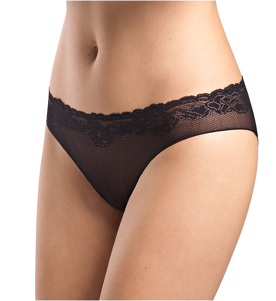 Hanro : Hanro 71108 Lulu Lace Hi Cut Brief Panty (Black S)