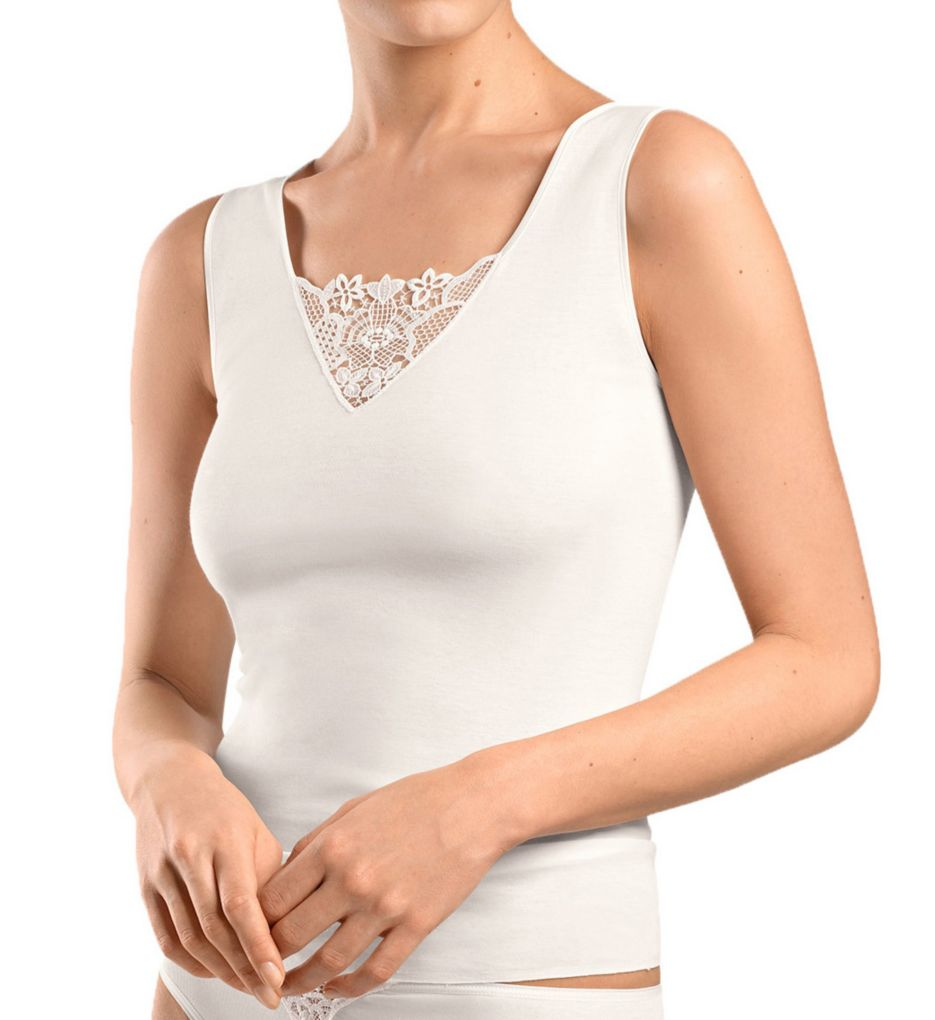 Hanro Vittoria Floral Embroidery Inset Tank Top