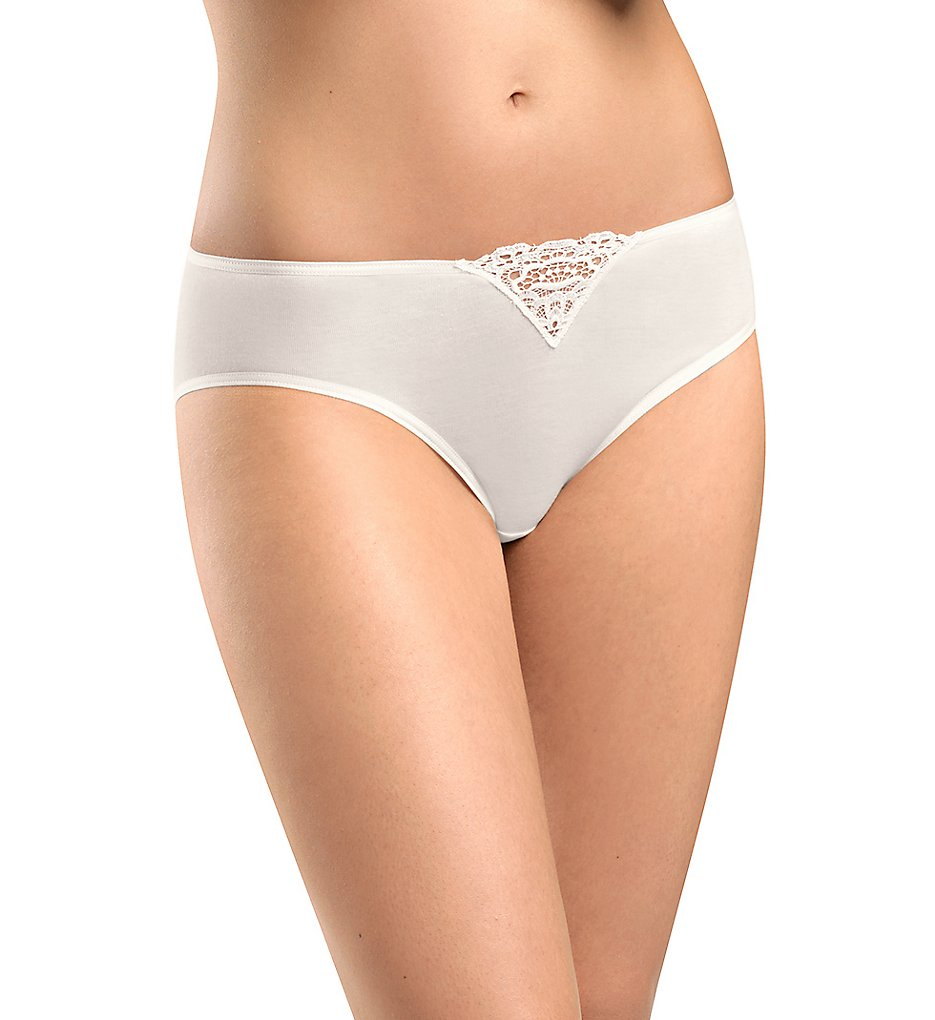 Hanro - Hanro 72049 Vittoria Hi Cut Brief Panty (Off White XS)