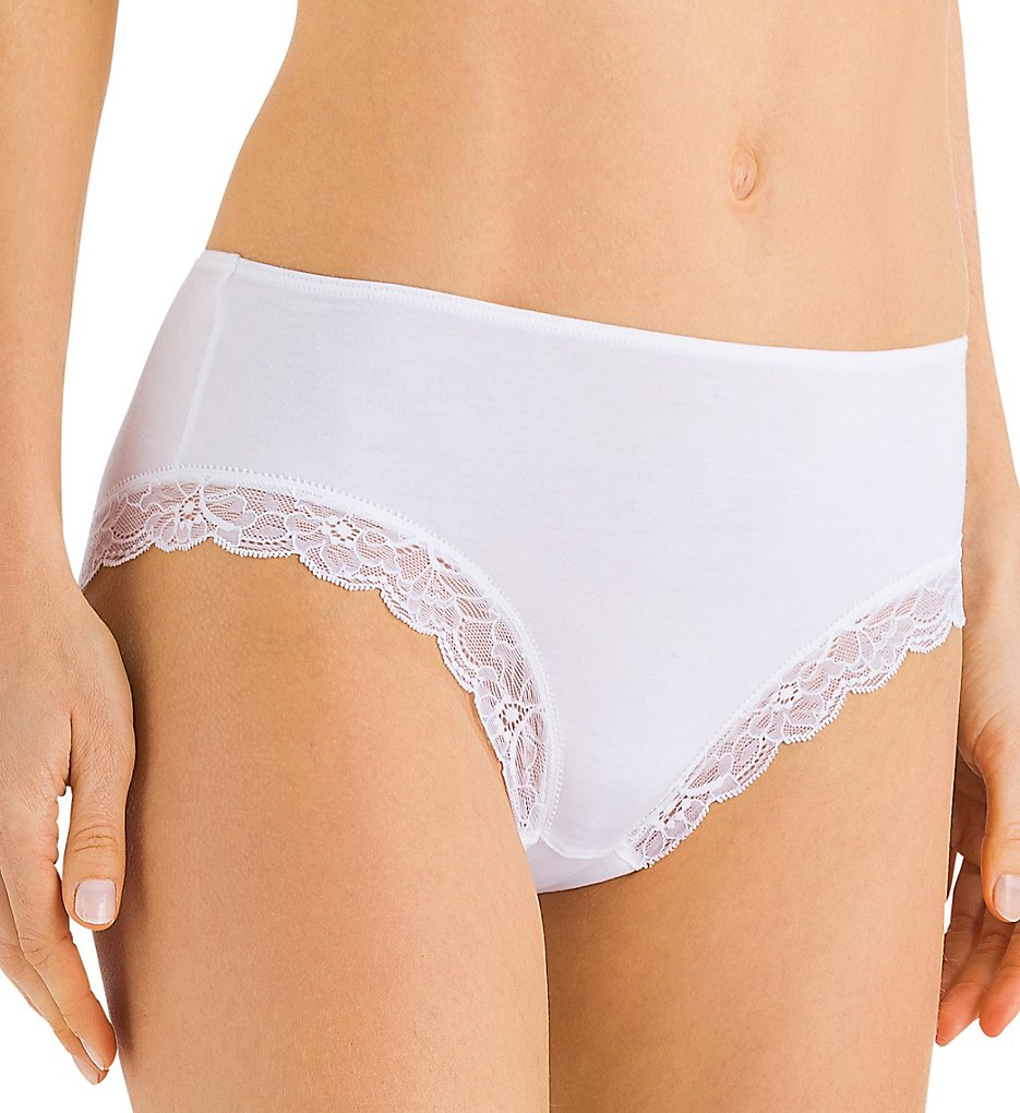 Hanro - Hanro 72437 Cotton Lace Hi Cut Brief Panty (White XS)