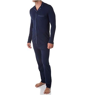 Hanro Narius Jersey Long Sleeve Button Front Pajama Set