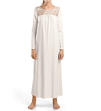 Hanro Vittoria LS Floral Embroidery Inset Long Gown