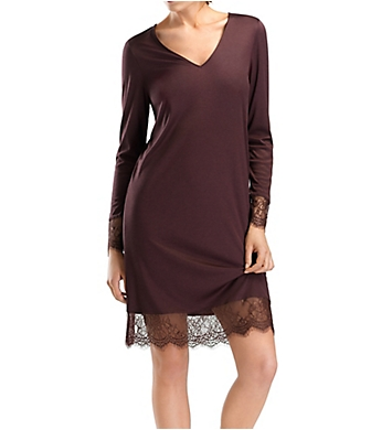Hanro Estelle Long Sleeve Lace Trim Gown