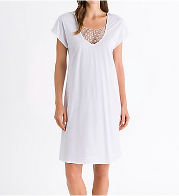Hanro Melissa Short Sleeve Embroidery Insert Gown
