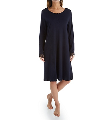 Hanro Flora Long Sleeve Henley Sleep Gown