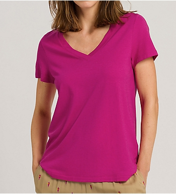 Hanro Sleep & Lounge Short Sleeve V-Neck Shirt