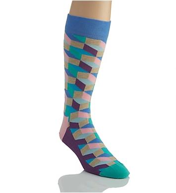 Happy Socks Filled Optic Combed Cotton Crew Sock