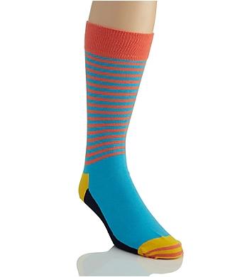 Happy Socks Half Stripe Combed Cotton Crew Sock