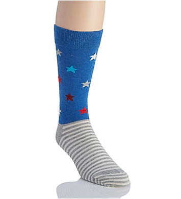 Happy Socks Star Stripe Combed Cotton Crew Sock