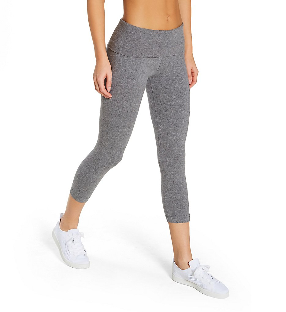 Hard Tail 588 Roll Down Layering Capri Legging (Charcoal Heather Gray)