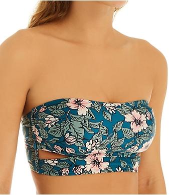 Hot Water Floral Fest Longline Bandeau Bikini Swim Top