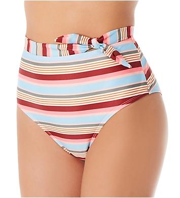 Hot Water Love Stripe High Waist Brief Swim Bottom