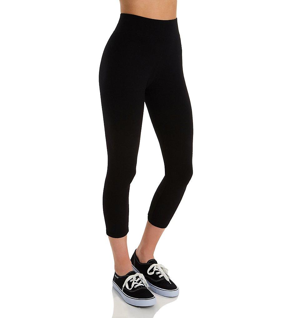 Hue 16460 Ultra Capri Leggings with Wide Waistband (Black)