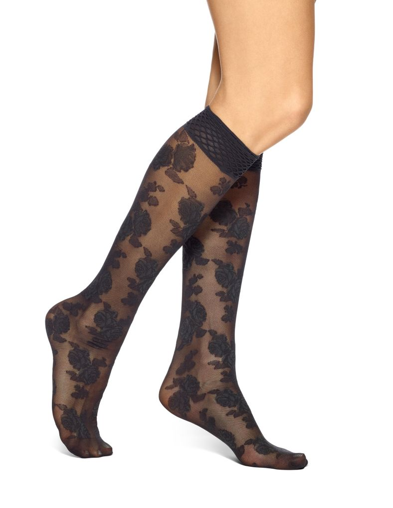 Hue Rose Mesh Knee High