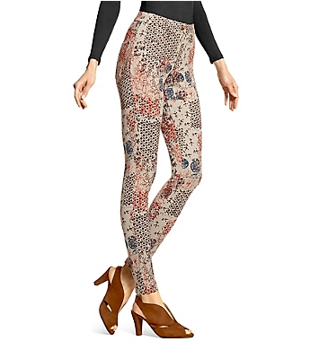 Hue Stamped Flowers Essential Denim Leggings