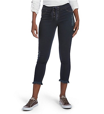 Hue Fashion Denim Lace Up Shipwrecked Capri