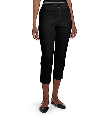 Hue Crepe Zippered High Waist Capri