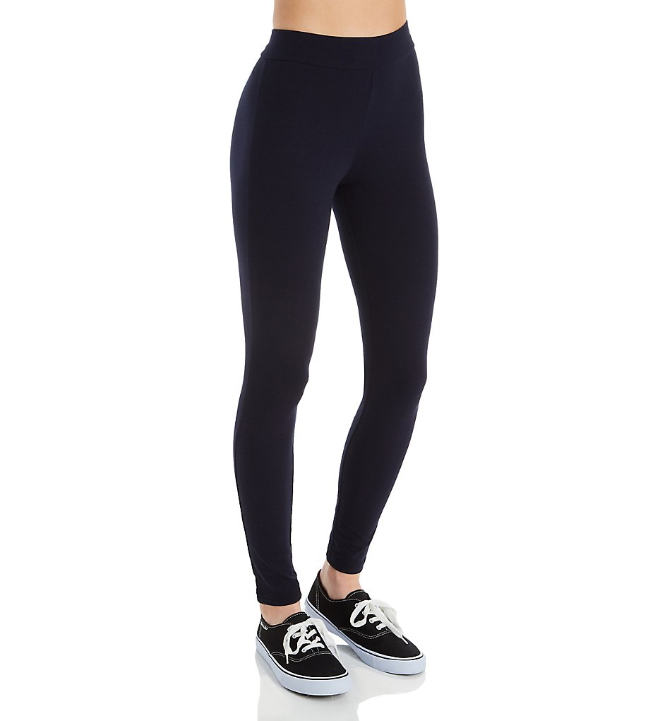 Hue 20481 Wide Waistband Blackout Cotton Leggings (Navy)