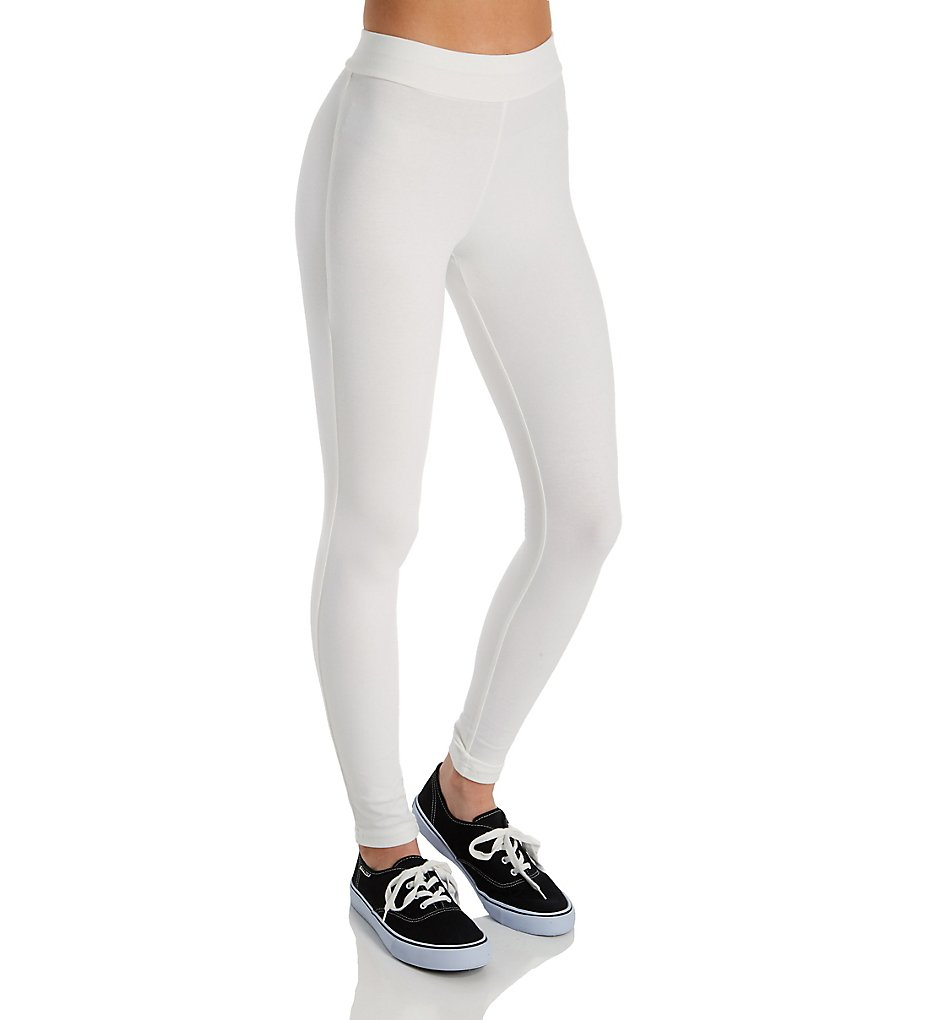 Hue 20481 Wide Waistband Blackout Cotton Leggings (White)