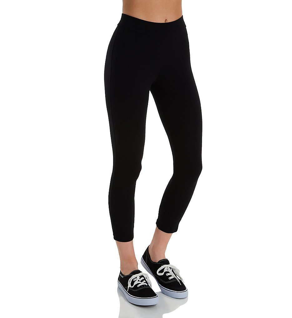 Hue 20482 Wide Waistband Blackout Cotton Capri Legging (Black)