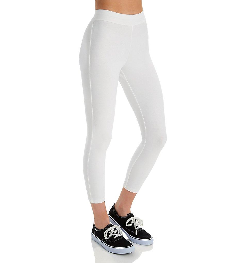 Hue 20482 Wide Waistband Blackout Cotton Capri Legging (White)